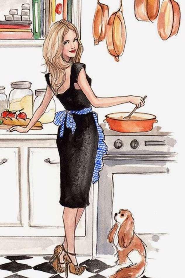 Женщина на кухне смешные картинки нарисованные